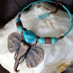 Necklace Natural Turquoise Stone Copper Elephant